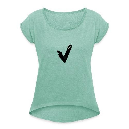 Vipz Logo Black - Frauen T-Shirt mit gerollten Ärmeln