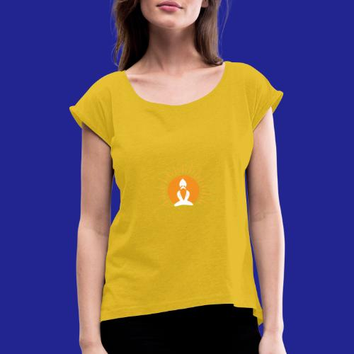 Guramylyfe logo white no text - Women's T-Shirt with rolled up sleeves