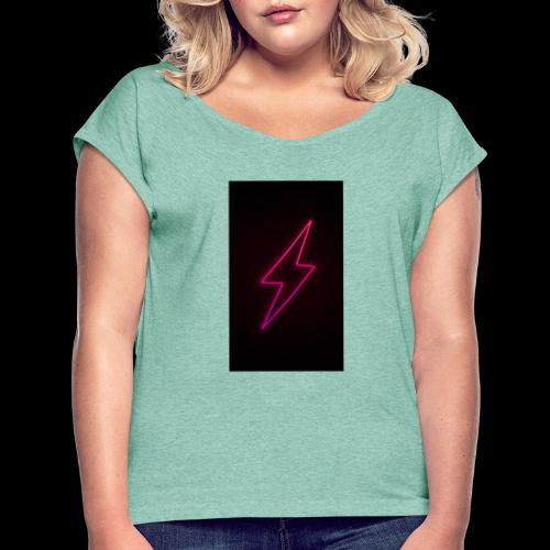neon lighting copy - Women's T-Shirt with rolled up sleeves