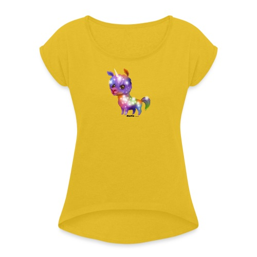 Llamacorn - Vrouwen T-shirt met opgerolde mouwen