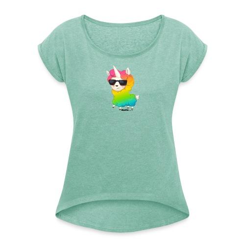 Regenboog animo - Vrouwen T-shirt met opgerolde mouwen
