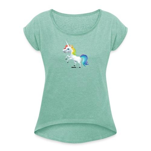 Regenboog eenhoorn - Vrouwen T-shirt met opgerolde mouwen
