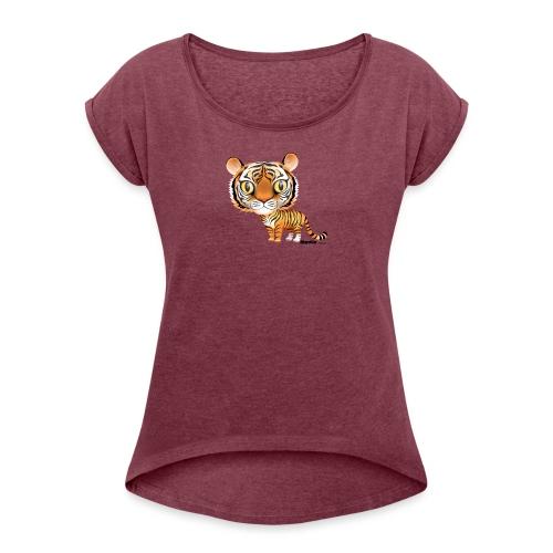 Tijger - Vrouwen T-shirt met opgerolde mouwen