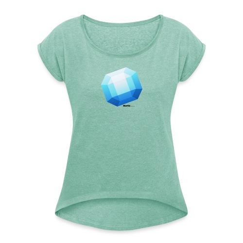 Saffier - Vrouwen T-shirt met opgerolde mouwen