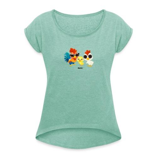 Huhn - von Momio Designer Emeraldo. - Frauen T-Shirt mit gerollten Ärmeln