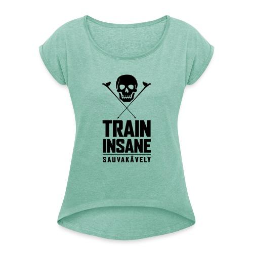 Sauvakävely - Skull t-shirt - Naisten T-paita, jossa rullatut hihat