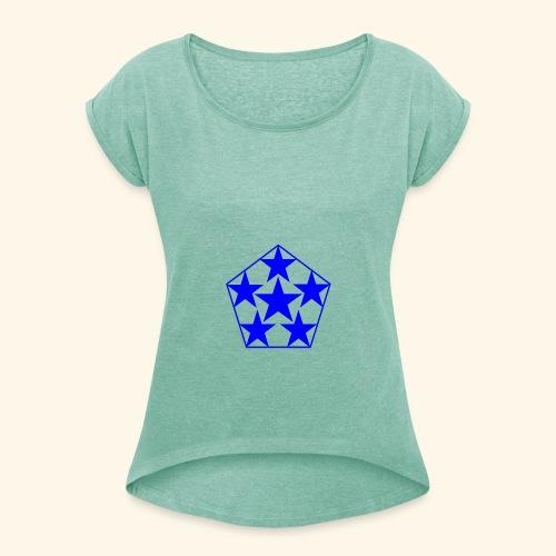 5 STAR Sterne blau - Frauen T-Shirt mit gerollten Ärmeln