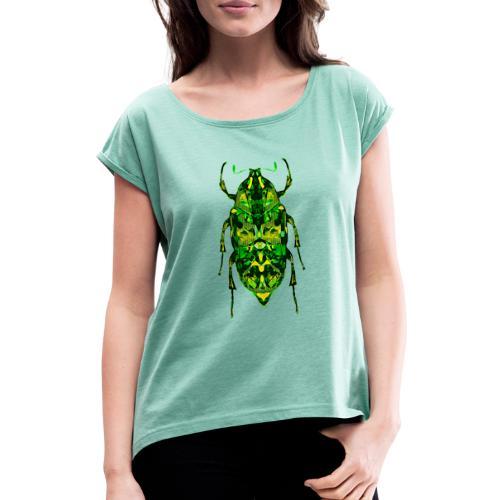 insect groen fantasie digitaal - Vrouwen T-shirt met opgerolde mouwen