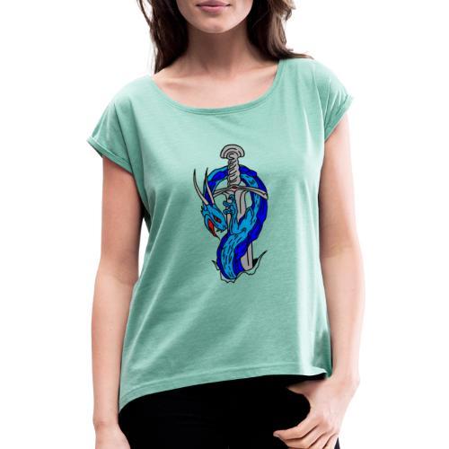 daga dragon vectorizado - Camiseta con manga enrollada mujer