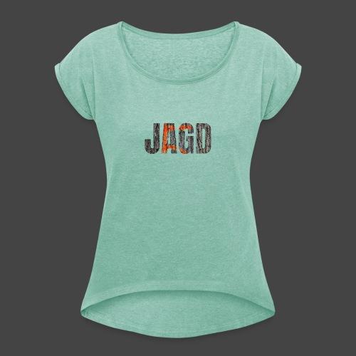 JAGD-Shirt für Jäger/innen, Motiv Drückjagdstand - Frauen T-Shirt mit gerollten Ärmeln