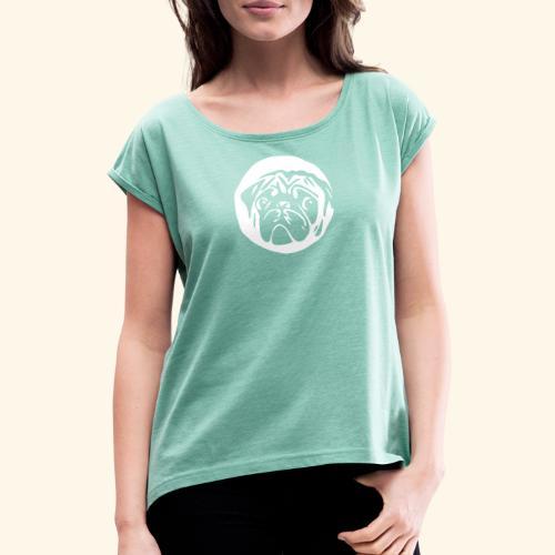 mops shirt schwarz - Frauen T-Shirt mit gerollten Ärmeln