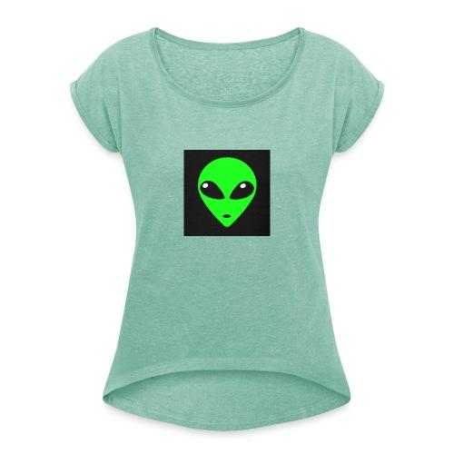 Green Gang - T-shirt med upprullade ärmar dam