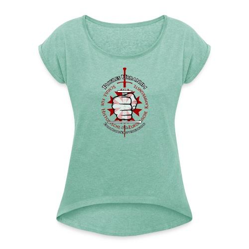 Logo frei PUR mitWa trans - Frauen T-Shirt mit gerollten Ärmeln