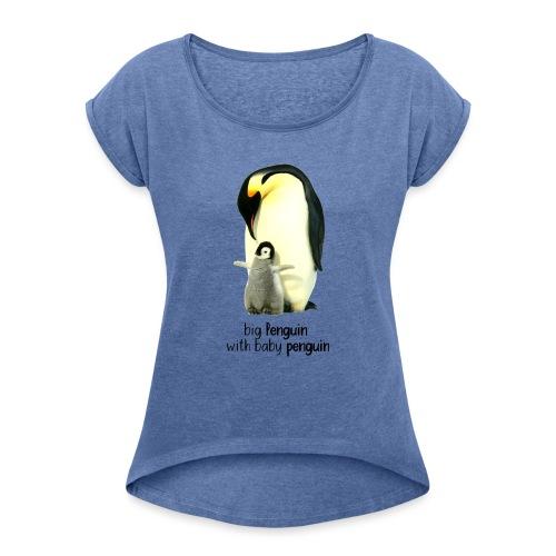Pingvin - Dame T-shirt med rulleærmer