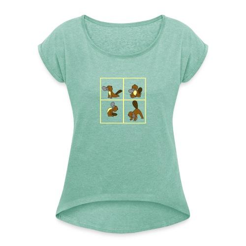 ornithorynque fait du yoga - T-shirt à manches retroussées Femme
