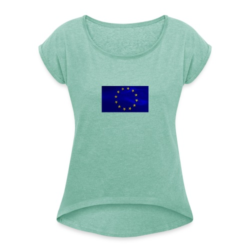 Eu Flag - Women's T-Shirt with rolled up sleeves