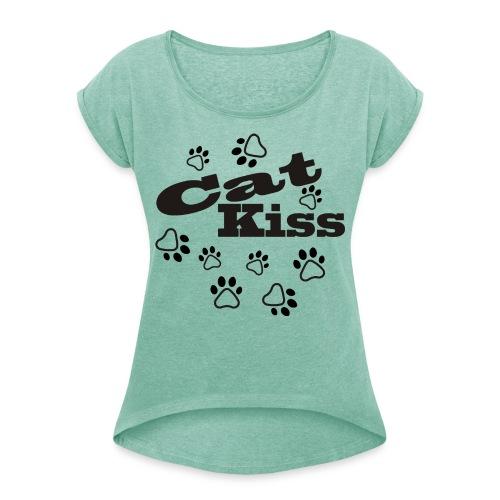 cat kiss pot - Camiseta con manga enrollada mujer