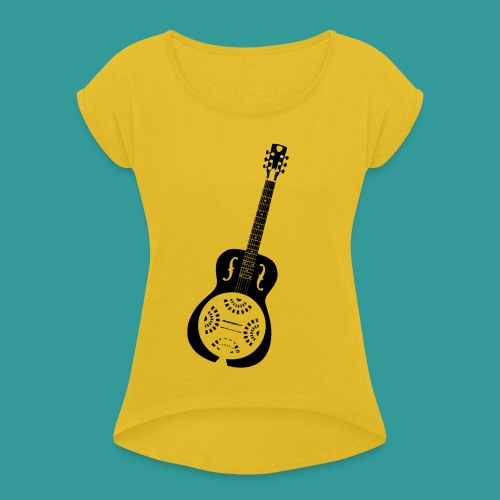 Blues Slide Guitar Stencil - Women's T-Shirt with rolled up sleeves