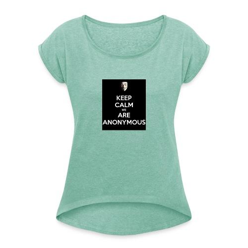 Keep Calm WE Are Anonymous - T-skjorte med rulleermer for kvinner