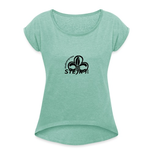 pfadi profil frei schwarz - Frauen T-Shirt mit gerollten Ärmeln