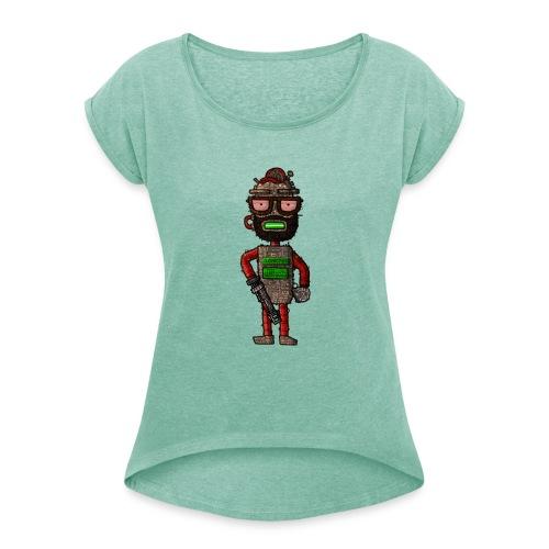 Dudebot420 - Frauen T-Shirt mit gerollten Ärmeln