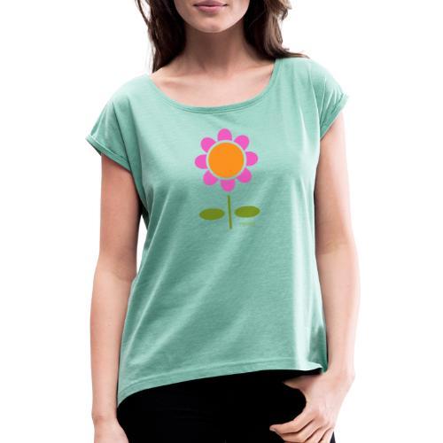 Retro flower - Naisten T-paita, jossa rullatut hihat