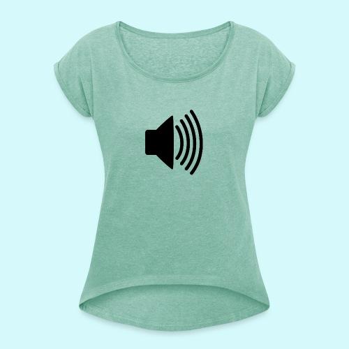 lautsprecher schwarz - Frauen T-Shirt mit gerollten Ärmeln
