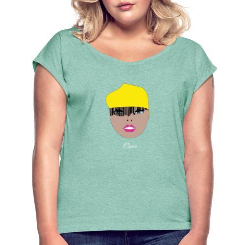 Yellow lady - T-shirt med upprullade ärmar dam
