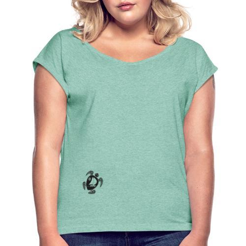 Logo without black transparent - Frauen T-Shirt mit gerollten Ärmeln