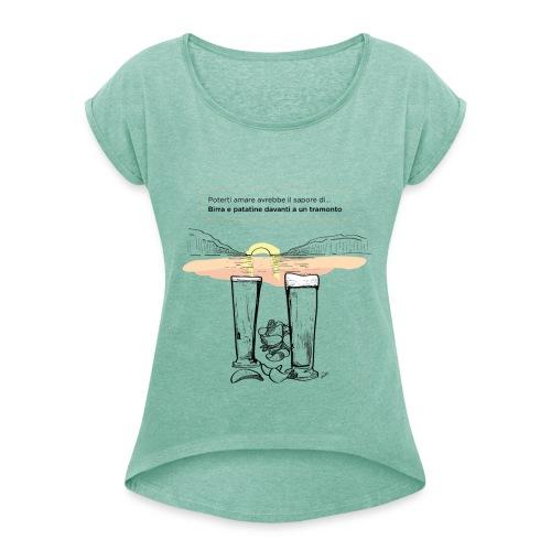 Amore, birra e patatine - Maglietta da donna con risvolti