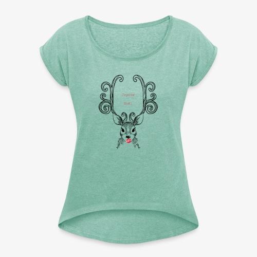 cerf Joyeux Noel - T-shirt à manches retroussées Femme