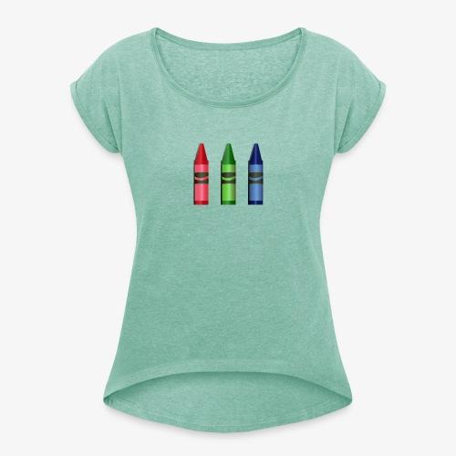 T-shirt RVB - T-shirt à manches retroussées Femme