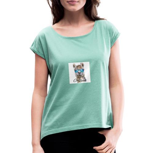 Cool Lama - Frauen T-Shirt mit gerollten Ärmeln