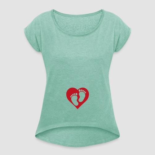 Bebis på väg - T-shirt med upprullade ärmar dam