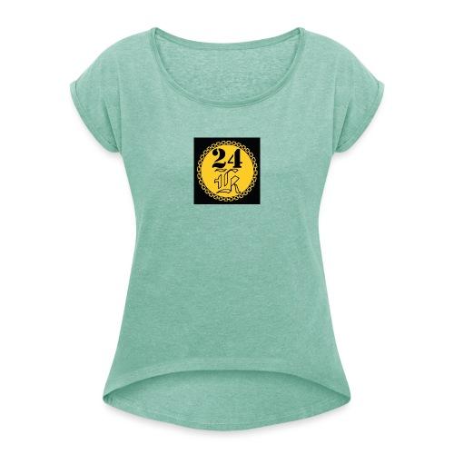 24k - T-shirt med upprullade ärmar dam