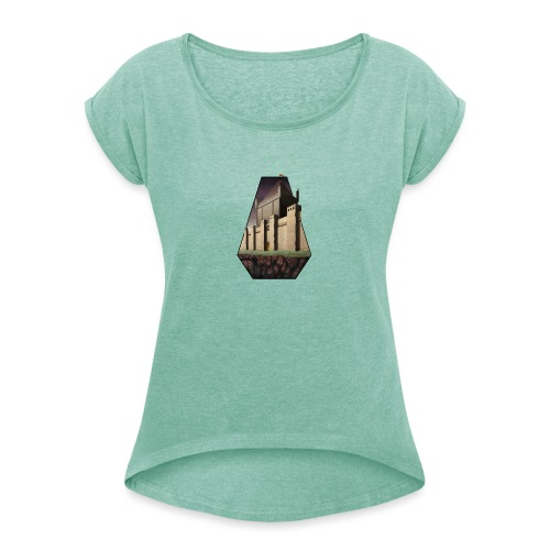 Build & Conquer Center Logo - Women's T-Shirt with rolled up sleeves