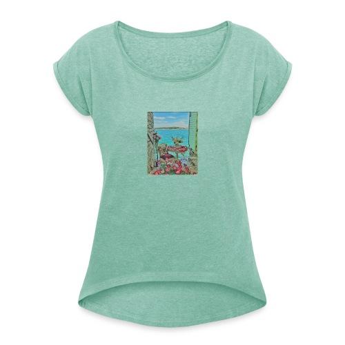Romantic look - mit diesem Outfit gelingt alles! - Frauen T-Shirt mit gerollten Ärmeln