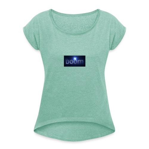 BOOOM - Koszulka damska z lekko podwiniętymi rękawami