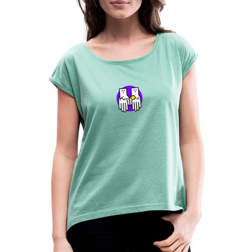 kiss one full color - Women's T-Shirt with rolled up sleeves