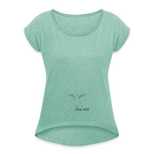 logo-taille-Editions Chat Ailé - T-shirt à manches retroussées Femme