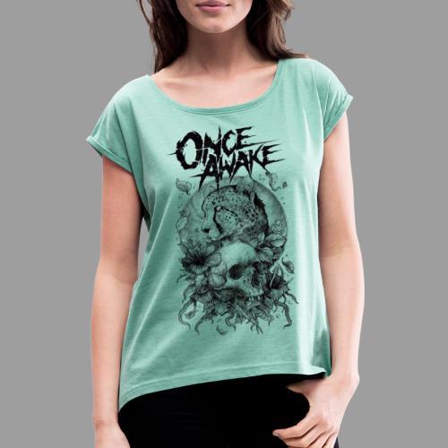 Once Awake skull for white - T-skjorte med rulleermer for kvinner