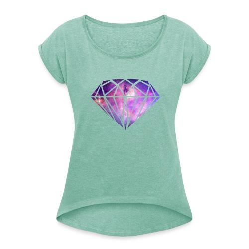 DiamondBIG png - Frauen T-Shirt mit gerollten Ärmeln