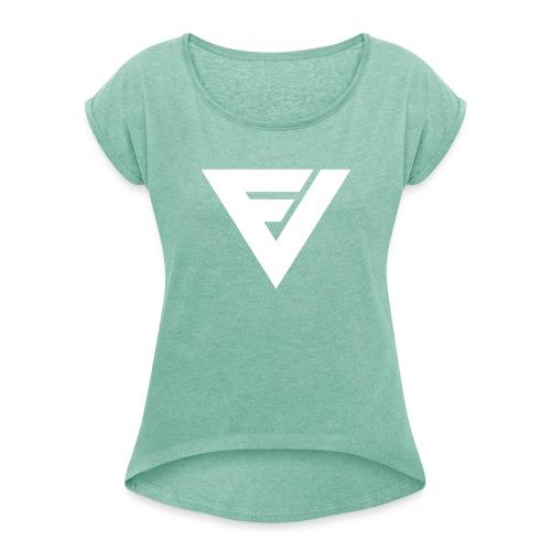 fribaveikot_symbol_black - Naisten T-paita, jossa rullatut hihat