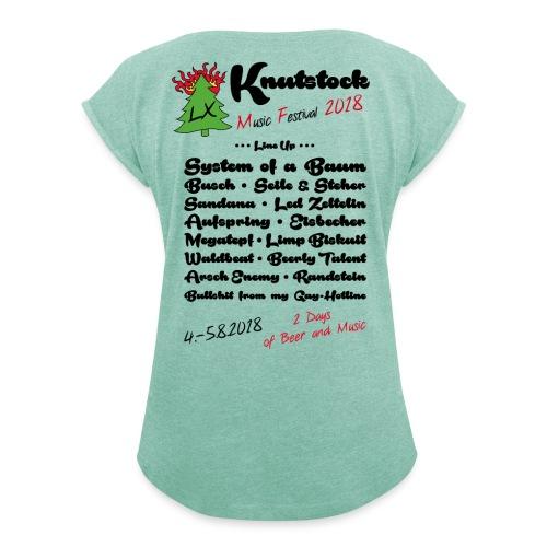 Knutstock LineUp2 - Frauen T-Shirt mit gerollten Ärmeln