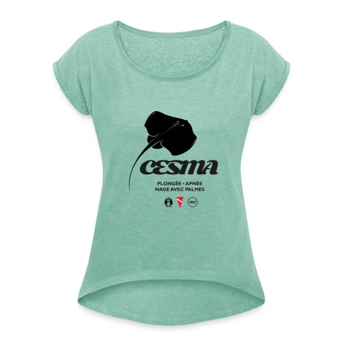 raie torpille-logo-cesma - T-shirt à manches retroussées Femme