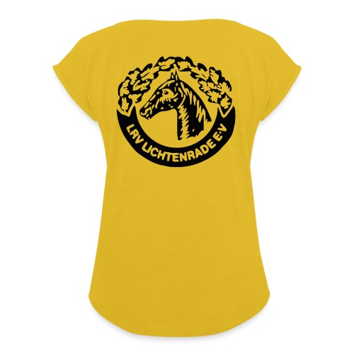 horse_logo_bag - Frauen T-Shirt mit gerollten Ärmeln