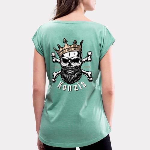 Skull Bones Logo - Frauen T-Shirt mit gerollten Ärmeln