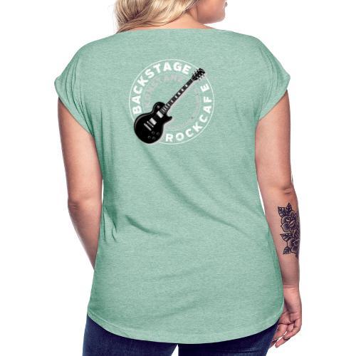 logo neu retro weiss transparent - Frauen T-Shirt mit gerollten Ärmeln