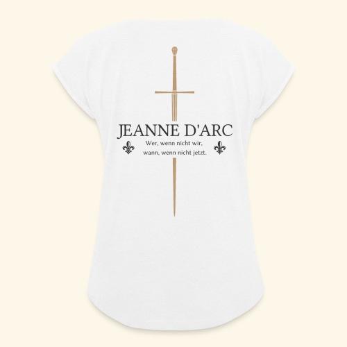 Jeanne d arc dark - Frauen T-Shirt mit gerollten Ärmeln