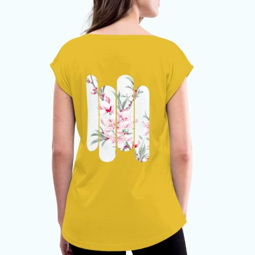 Vintage Japan watercolor flowers - Women's T-Shirt with rolled up sleeves